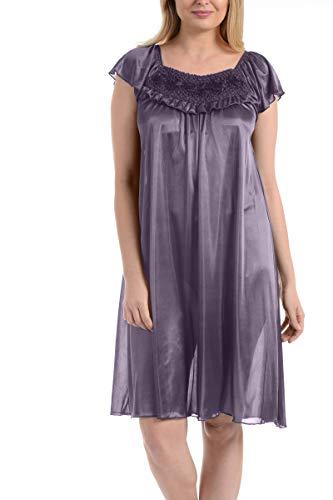 Ezi Women's Satin Silk Ruffle Nightgown,Lavender,3X