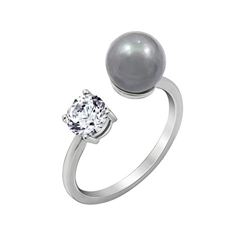 J'ADMIRE 1 Carat Cubic Zirconia Freshwater Grey Pearl Ring Size 8, Platinum Plated Sterling Silver