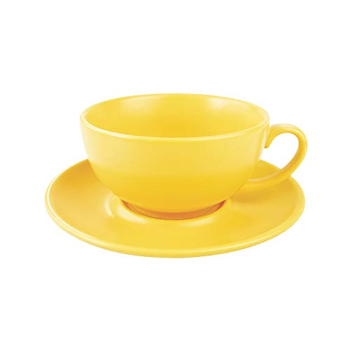 J-FAMILY Professional Porcelain Coffee Cup and Saucer set,Latte Cup Cappuccino Cup for Specialty Coffee Drink,Semi Matte Yellow Coffee Cup,8 oz