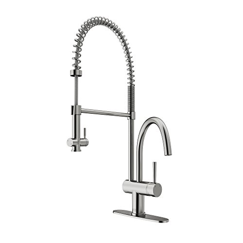 Dresden Sprays - VIGO VG02006STK1 Dresden Single Handle Pull-Down Sprayer Kitchen Sink Faucet with Deck Plate, Centerset Single Hole Faucet, Commercial-Style Design, Premium Stainless Steel Finish