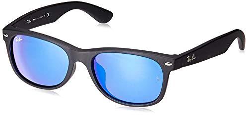 Ray-Ban RB2132F New Wayfarer Asian Fit Sunglasses, Black Rubber/Blue Flash, 55 mm (Asian Fit)