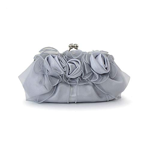 JBAG-one Women Clutch Bag,Silk Rosette Evening Bag,Bride Wedding Handbag,Flower Wristlet Bag, Shoulder Bag for Party,Silver