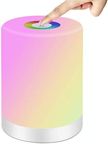 SaponinTree Luce Notturna LED, Lampada da Comodino con Sensore Smart Touch, USB Ricaricabile, Portatile, Luce Bianca a 3 Livelli Regolabile e 7 Colore che Cambia, per Bambini, Camera da Letto