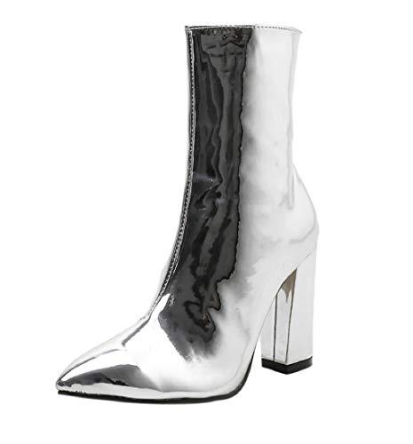 Hiver En Femme Pour Chaussures Cuir Bottines Martain Sexy Verni Binggong Tissu Bottes Talon Argent Talons Compensées Pointe EXpwTqq