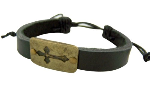 Bronzed Cuff - Bronzed Toned Base Budded Christian Cross Metal on Adjustable Leather Bracelet, 8 Inch