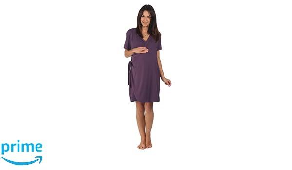 La bata de maternidad de bambú - Para el embarazo, el parto, la lactancia materna y la vinculación afectiva, Ciruela oscuro (morado), Antes del embarazo ...