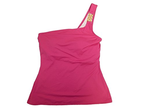 Michael Michael Kors Women's Asymmetrical Tankini Top Radiant Pink L
