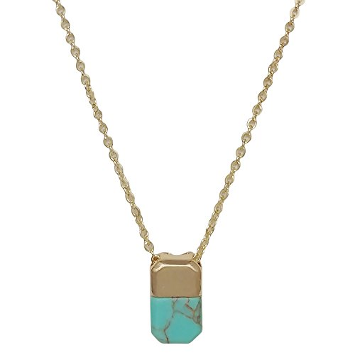 Seraphina New York Square Natural Gemstone Accent Gold Pendant Women's Necklace (Turquoise)
