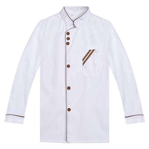 XFentech Chef Uniformes Unisex - Chaqueta de Chef de Manga Larga Cocinero Trabajo Uniforme, Blanco-02, US M = Tag L