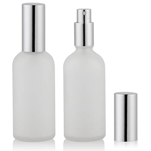 Empty Frosted Glass Spray Bottle 4oz, Perfume Atomizer, Fine Mist Spray (2 PACK)