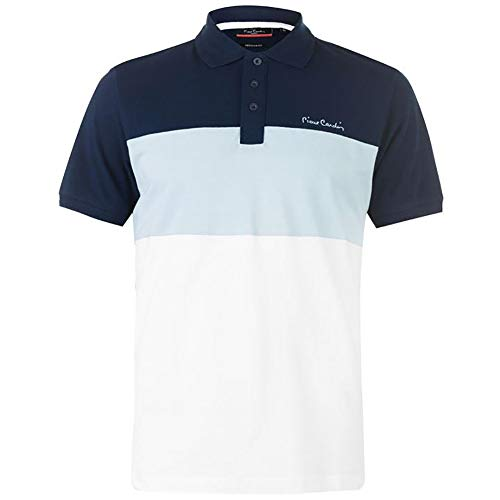- Pierre Cardin New Season Mens 100% Cotton Cut and Sew Stripe Panel Tipping Collar Pique Polo Shirt (Small, Navy/Light Blue)