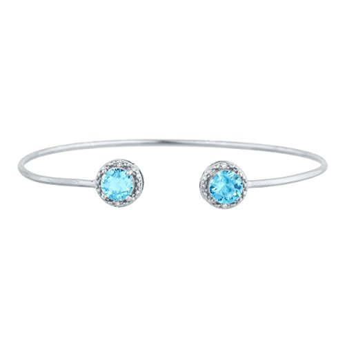 2 Ct Blue Topaz & Diamond Round Bangle Bracelet .925 Sterling Silver
