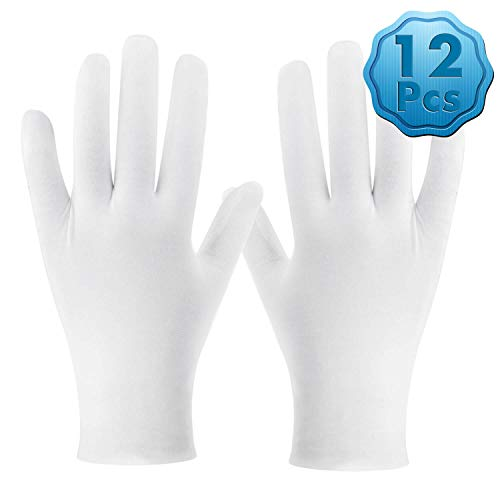 White Cotton Gloves, Cridoz 6 Pairs Cotton Gloves Cleaning Serving Archival Gloves for Women Dry Hands Sleeping Moisture Eczema Coin Jewelry Silver Costume Inspection Handling Art, XL