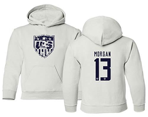 TURXIN New Soccer Shirt America USA National Team #13 Alex Morgan Boys Girls Youth Hooded Sweatshirt (White, Youth X-Large)