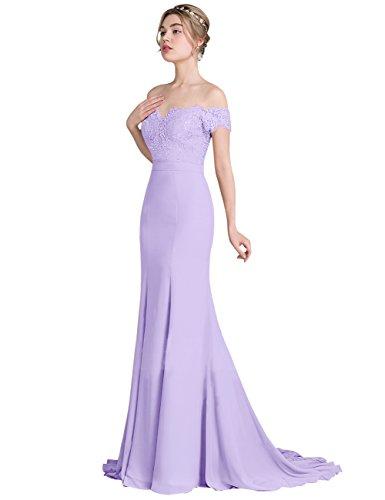Erosebridal Frauen Meerjungfrau für Lavendel Brautjunfernkleider Kleidern Spitze Abendkleid Partei gqgrwBU