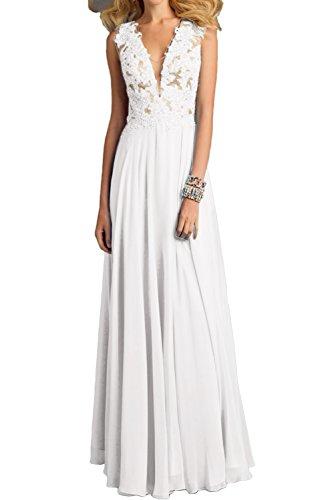 Abendkleider Applikation Neu Promkleider V Ballkleider Paillette Neck Damen Weiß Ivydressing Lang zIxPYH