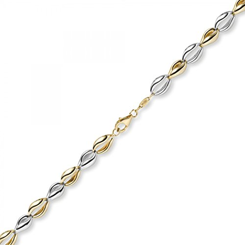 Imagination de 7,5 mm Collier de collier bijoux en or 585 or jaune/blanc 45 cm