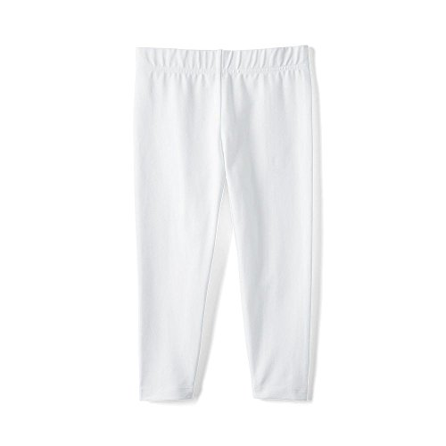Lands' End School Uniform Little Girls Knit Capri Leggings, L, White - Lands End School Uniforms