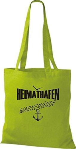 Shirtstown - Bolso de tela de algodón para mujer Verde - amarillo lima