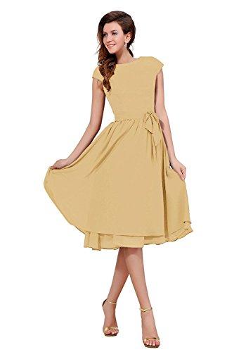 Cap Mother of Party Knee Gold The Bridal Women's Dress Length Sleeve Bess Bride WgpZ4YnZ