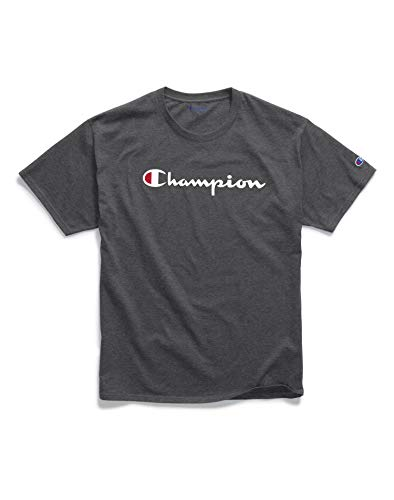 Champion Men's Classic Jersey Graphic T-Shirt, Granite Heather, Large ()