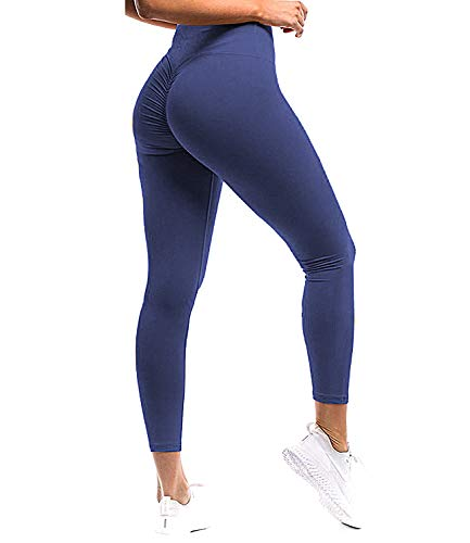 SEASUM Women Scrunch Butt Yoga Pants Leggings High Waist Waistband Workout Sport Fitness Gym Tights Push Up S