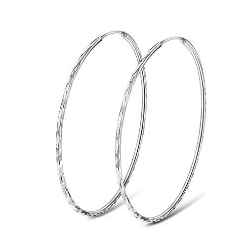 925 Sterling Silver Circle Endless Hoop Earrings Big Loops for Women Size 60mm Girlss Ear Jewelry