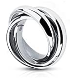 Gekko Body Jewellery Womens Triple Roll Band Ring / Wedding Band Ring