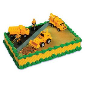 A Birthday Place Construction Scene Cake Topper Kit (Construction Scene)