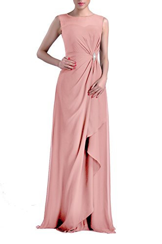 Formal Bridesmaid Dress Chiffon Special Occasion Long Mother Of The Bride Groom Dress  Color Dusty Rose 12