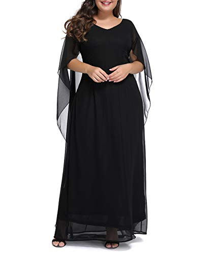 Innerger Womens Plus Size Chiffon Cape Sleeve Evening Party Long Maxi Dress Black XXXL