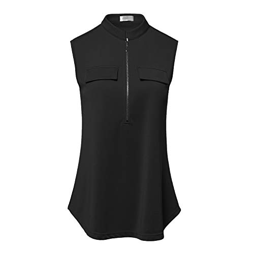 SUGAR POISON Women's V Neck Zip Up Casual Tank Top Flaps at Chest Sleeveless Tunic Black Small