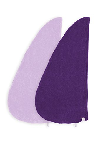 Texere Women's Bamboo Hair Towel Wrap (2-Pack, Lavender Fog/Purple, Unisize) Soft Bamboo Spa Head Wrap Present for Ladies TX-AB011-001-4213-R-U