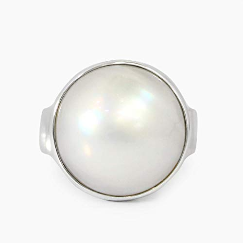 (Bali Handmade 925 sterling silver with gorgeous and natural 15 mm white mabe pearl, beautiful bali design in round-shaped with white mabe pearl ring)