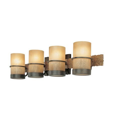 Bathroom Vanity 4 Light With Bamboo Bronze Finish Hand-Worked Wrought Iron Material Medium 30 inch Wide 400 (Bamboo 4 Light)