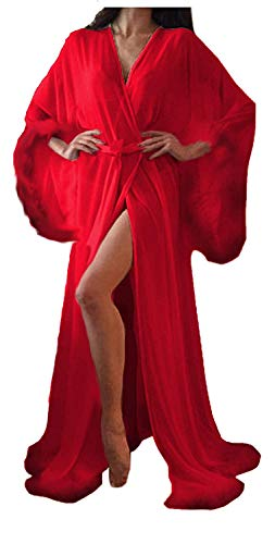 Women Sexy Feathers Collar Perspective Sheer Long Lingerie Robe Nightgown Bathrobe Pajamas Sleepwear (Red, M)