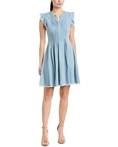 (CeCe Women's Flutter Sleeve Denim Pintuck Dress Ocean Drift 4)