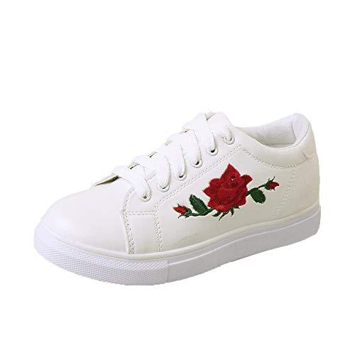 XINGMU Con Vulcanizzare Bianco Femmina Donne Donna Sneakers Fiore Calzature Scarpa Ricamo Scarpe Lacci Ragazze Scarpe Cinghie Donna qrrRE