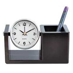 Executive Desk Clock, Brushed Nickel