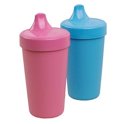 Re-Play Made in USA 2pk Toddler Feeding No Spill Sippy Cups | 1 Piece Silicone Easy Clean Valve | Eco Friendly Heavyweight Recycled Milk Jugs are Virtually Indestructible | Bright Pink/Sky Blue