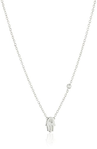 Shy by SE Hamsa Necklace with Bezel Set and Burnished Diamond