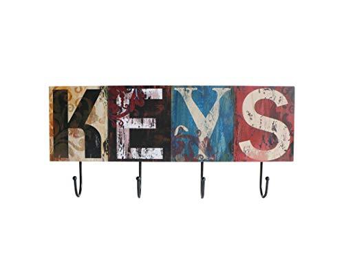 (Sigma decor - wooden wall mount metal 4 hooks - 18 inch, coat, hat and bag hanger, key holder, organize storage hang decorative for entryway hallway bedroom, rustic decor - mdf wood)