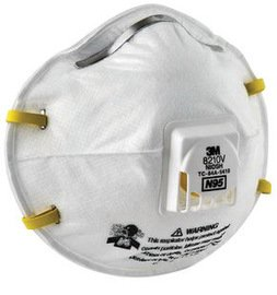 : 3M Particulate Respirator 8210V with Cool Flow Valve, Smoke, Grinding, Sanding, Sawing, Sweeping, Woodworking, Dust, 80/Pack