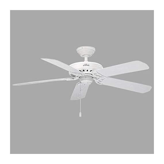 """Hunter Indoor / Outdoor Ceiling Fan, with pull chain control - Bridgeport 52 inch, White, 53125 3 <p>The bridgeport outdoor can turn a back porch into a breezeway with the flip of a switch. Etl damp listed for outdoor use in covered porches, patios, and sunrooms, this traditional Fan has a relaxed, comfortable style. White finish and 5 white plastic blades resist the elements. Three speeds let you set your breeze to suit your weather. Powered by a high performance, whisper wind motor it delivers ultra powerful air movement with whisper quiet performance so you get the cooling power you want, without the noise you don't. WhisperWind motor delivers ultra powerful air movement with whisper quiet performance so you get the cooling power you want without the noise you don't Reversible motor allows you to change the direction of your fan from downdraft mode during the summer to updraft mode during the winter 5 White Plastic blades included 13 degree blade pitch optimized to ensure ideal air movement and peak performance 3"""" and 2"""" downrods included to ensure proper distance from the ceiling and optimize air movement at your preferred blade height ETL Damp rated for use in covered porches, patios and sunrooms Installer's Choice three position mounting system allows for standard, low or angled mounting Included pull chain allows for quick and easy on/off and speed adjustments</p>"""