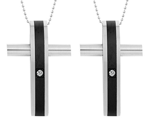Daesar 2PCS His & His Matching Set Necklace Stainless Steel CZ Convexity Cross with Chain ()