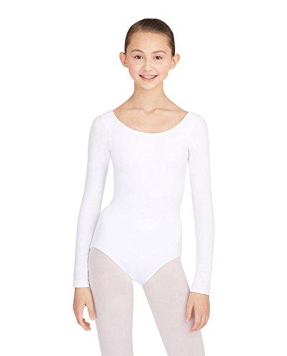 [Capezio Women's Long Sleeve Leotard,White,Medium] (Long Sleeve White Leotard Girls Costumes)
