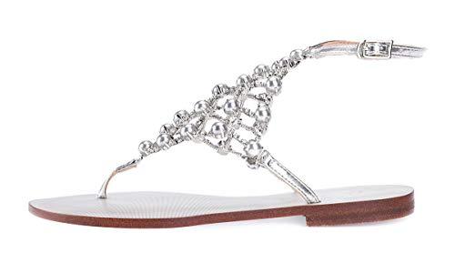 Stupmary Women's Flat Heels Sandals Flip Flops Rhinestone Crystal Buckle Strap Ball Silver ()
