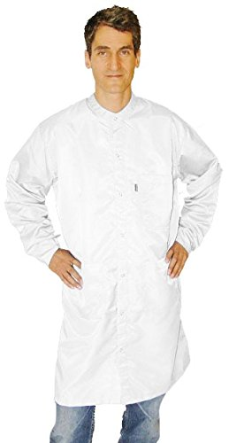 CleanPro C3.2 Cleanroom Frock/Smock with Anti-Static Knit Cuffs & Zipper Closure with Snap Collar, White, X-Large