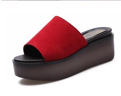 Chanclas MEIDUO sandalias Deslizadores al aire libre de la playa de los deslizadores frescos de la manera del verano de los 7cm (negro/verde/rojo) cómodo Rojo