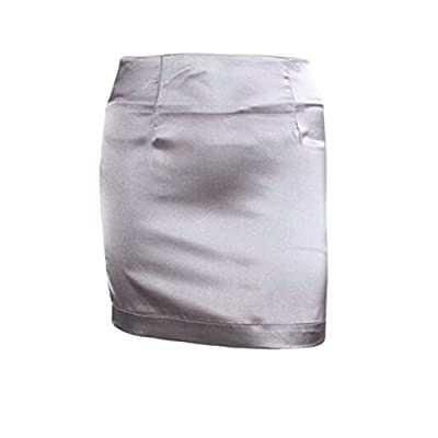 Pandapang Womens Classic Solid Color Silk High Waist Bodycon Pencil Mini Skirts